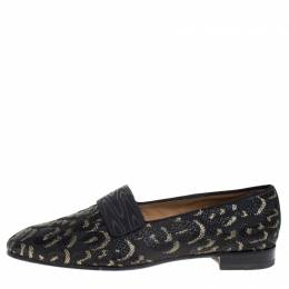 Christian Louboutin Black/Gold Leopard Print Fabric Loafers Size 42 269249