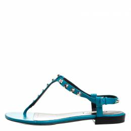 Balenciaga Teal/Black Leather Studded T Strap Flat Sandals Size 38.5 268590
