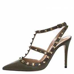 Valentino Green Leather Rockstud Ankle Strap Cage Sandals Size 40.5