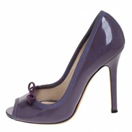 D&G Purple Patent Leather Bow Peep Toe Pumps Size 37 Dandg 268119
