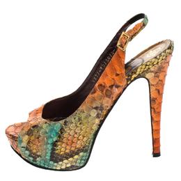 Gina Multicolor Python Leather Peep Toe Platform Slingback Sandals Size 38.5 268112