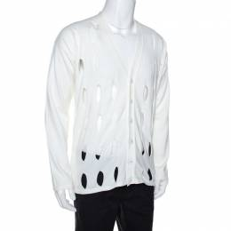 Emporio Armani Off White Cotton Cutout Detail Cardigan XXL 268749