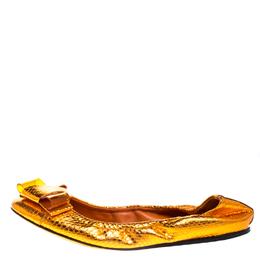 Burberry Metallic Orange Snakeskin Embossed Leather Surrey Ballet Flats Size 40 268211
