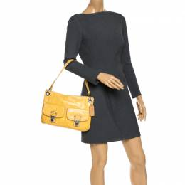 Coach Yellow Leather Double Pocket Shoulder Bag 268107