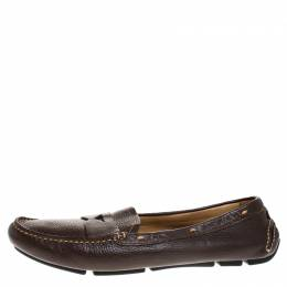Prada Dark Brown Leather Loafers Size 39 268362