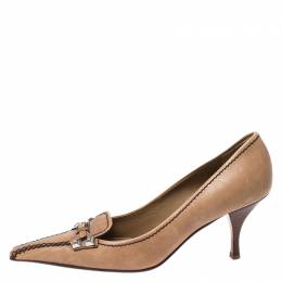 Prada Light Brown Leather Buckle Pointed Toe Pumps Size 37.5 267107