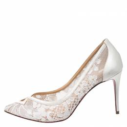 Christian Louboutin White Satin and Lace Neoalto Pointed Toe Pumps Size 38 267104