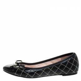 Carolina Herrera Black Quilted Leather Bow Ballet Flats Size 37