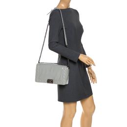 Chanel Grey Soft Patent Leather New Medium Reverso Boy Flap Bag