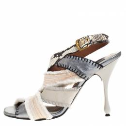 Marc Jacobs Multicolor Canvas, Leather And Python Slingback Sandals Size 40 269199