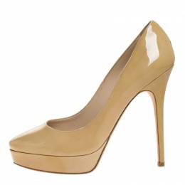 Jimmy Choo Cream Patent Leather Cosmic Platform Pumps Size 39 268482