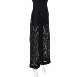 Valentino Black Eyelet Lace Cotton Wide Leg Pants S 267730