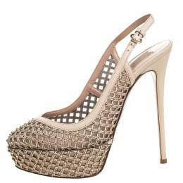 Valentino Beige Lattice Leather And Mesh Studded Slingback Platform Sandals Size 38
