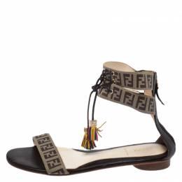 Fendi Brown Zucca Coated Canvas Tassel Open Toe Ankle Wrap Sandals Size 38 268162