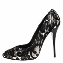 Giuseppe Zanotti Design Silver Metallic Leather and Black Lace Pumps Size 38 268383