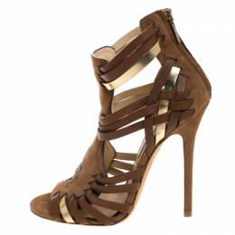Jimmy Choo Brown Suede Leather Strappy Open Toe Sandals Size 37.5 267120