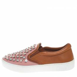 Dior Pink/Brown Leather And PVC Floral Embellished Slip On Sneaker Size 37.5 267411