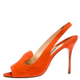 Manolo Blahnik Orange Suede Slingback Sandals Size 40.5 267416