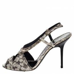 Burberry Cream/Black Python Effect Leather Criss Cross Slingback Sandals Size 41 266817