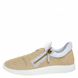 Giuseppe Zanotti Design White/Gold Studded Leather May London Slip On Sneakers Size 40.5 268713