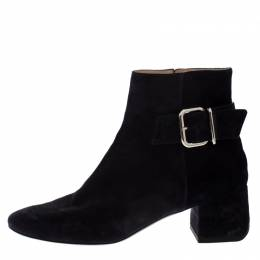 Tod's Dark Blue Suede Buckle Ankle Boots Size 38.5 268710