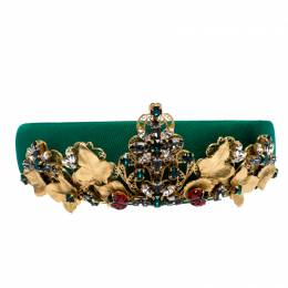 Dolce&Gabbana Green Silk Crystal Embellished Tiara Headband ( One Size )