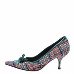 Miu Miu Multicolor Floral Embellished Tweed Pointed Toe Pumps Size 38.5 268629