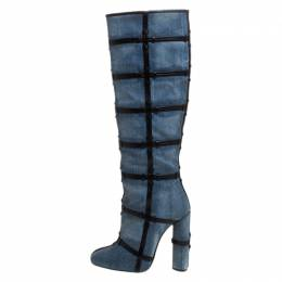 Tom Ford Denim Fabric And Leather Trim Patchwork Knee Length Boots Size 39 268022