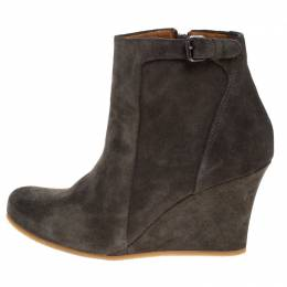 Lanvin Grey Suede Zip Wedge Ankle Boots Size 36.5 268443