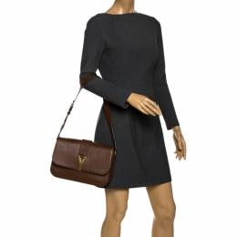 Saint Laurent Dark Brown Leather Large Chyc Flap Shoulder Bag