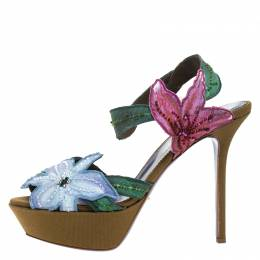 Sergio Rossi Multicolor Flower And Leaf Canvas Sandals Size 39.5 265130