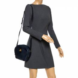 Celine Navy Blue Leather Front Pocket Crossbody Bag