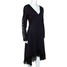 Chloe Navy Blue Stretch Wool Lace Trim Flared Midi Dress M