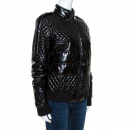 Chanel Black Quilted Rib Knit Trim Bomber Jacket L 264172
