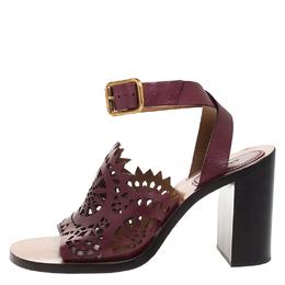 Chloe Burgundy Leather Laser Cut Block Heel Ankle Strap Sandals Size 39 264170