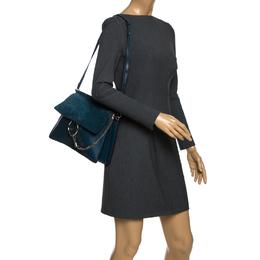 Chloe Dark Blue Leather and Suede Medium Faye Shoulder Bag