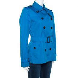 Burberry Blue Cotton Double Breasted Trench Coat M 266454