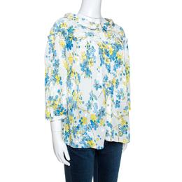 Roberto Cavalli White Floral Printed Silk Gathered Blouse L 265583