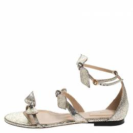 Chloe Metallic Gold Leather Mike Bow Flat Sandals Size 36 265588
