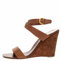 Sergio Rossi Brown Leather Open Toe Wedge Ankle Strap Sandals Size 39.5 265101