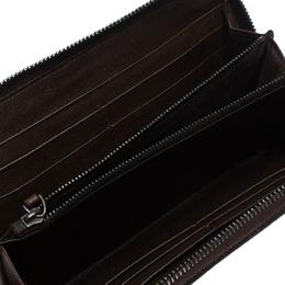 Bottega Veneta Dark Brown Intrecciato Trimmed Leather Wallet