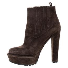 Prada Brown Suede Platform Ankle Boots Size 37 265105