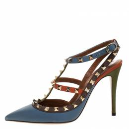 Valentino Tricolor Leather Rockstud Pointed Toe Ankle Strap Sandals 38.5