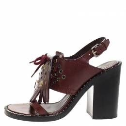 Burberry Burgundy Leather Beverley Fringe Eyelet Embellished Slingback Block Heel Sandals Size 40 264183