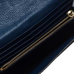 Miu Miu Black/Blue Leather Envelope Flap Wallet 264164