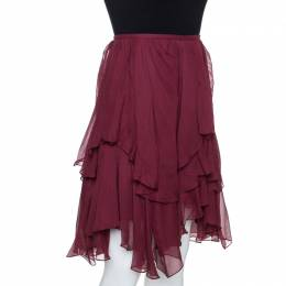 Chloe Burgundy Georgette Silk Asymmetric Layered Mini Skirt M