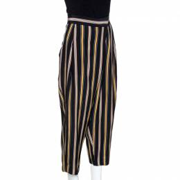 Chloe Multicolor Rough Striped Silk Cropped Trousers M