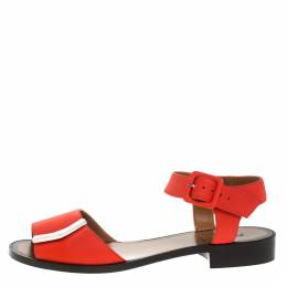Fendi Orange Leather Ankle Strap Flat Sandals Size 36 264503
