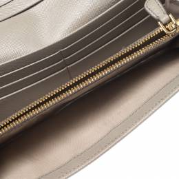 Prada Grey Saffiano Leather Flap Continental Wallet 266119