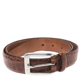 Ermenegildo Zegna Brown Crocodile Embossed Leather Belt Size 120CM